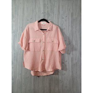 Molly Green Linen Button Up Top Pink L